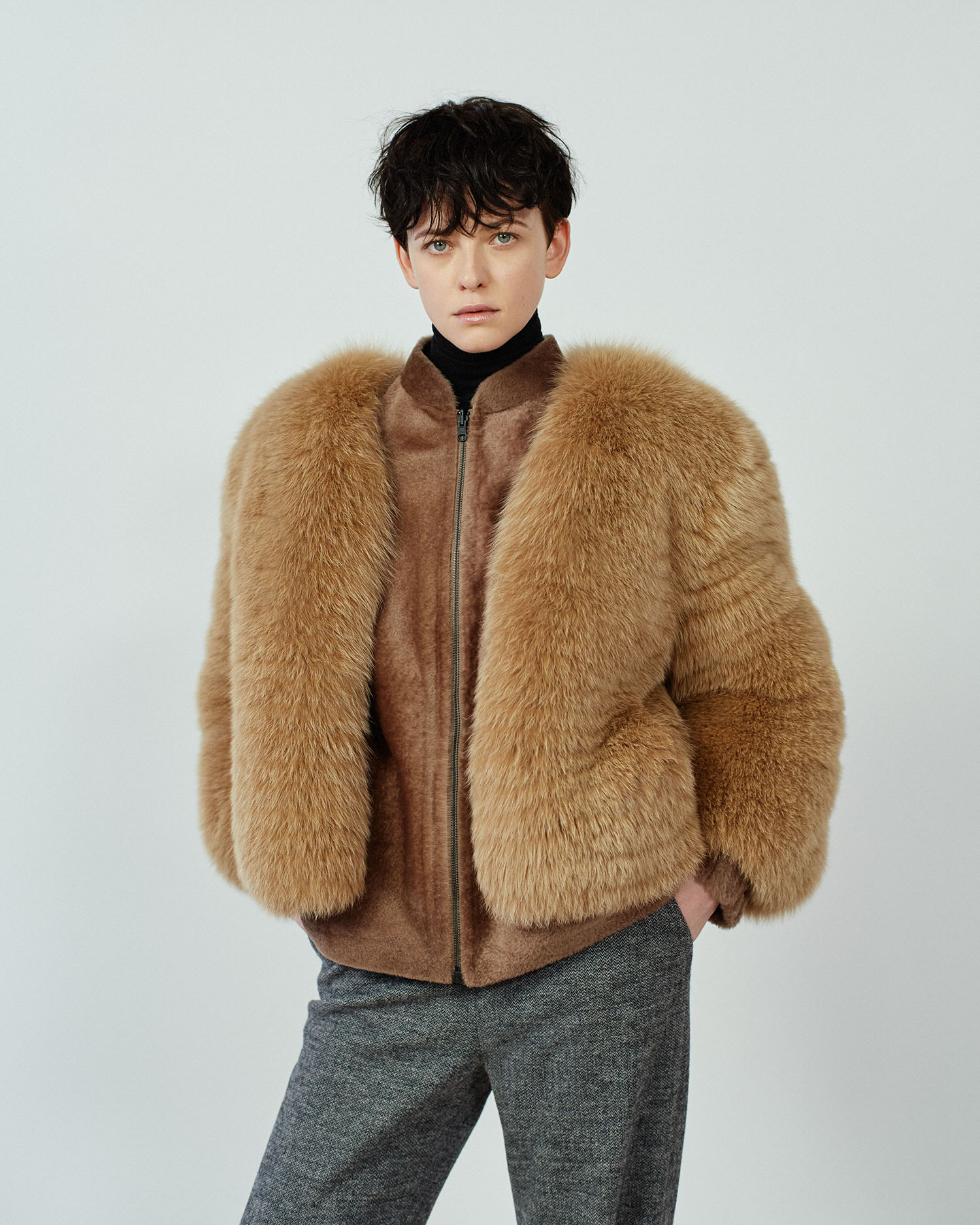 LOU Boléro renard cumin Cumin fox bolero ESJA Veste agneau maicon réversible wood Wood maicon shearling reversible jacket